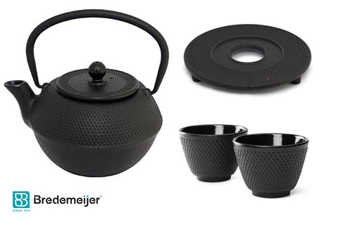Bredemeijer Jang G002Z Asian Teapot Cast Iron 1.2 Litre Black. Cast Iron Trivet, 2 Tea Cups
