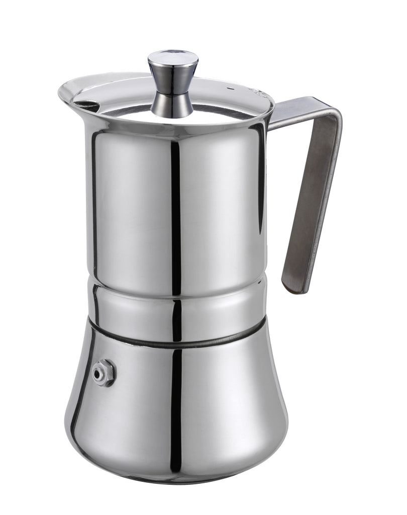GAT PRATIKA Stovetop Espresso Coffee Maker STAINLESS STEEL 18/10 Made Designer Homeware Ltd