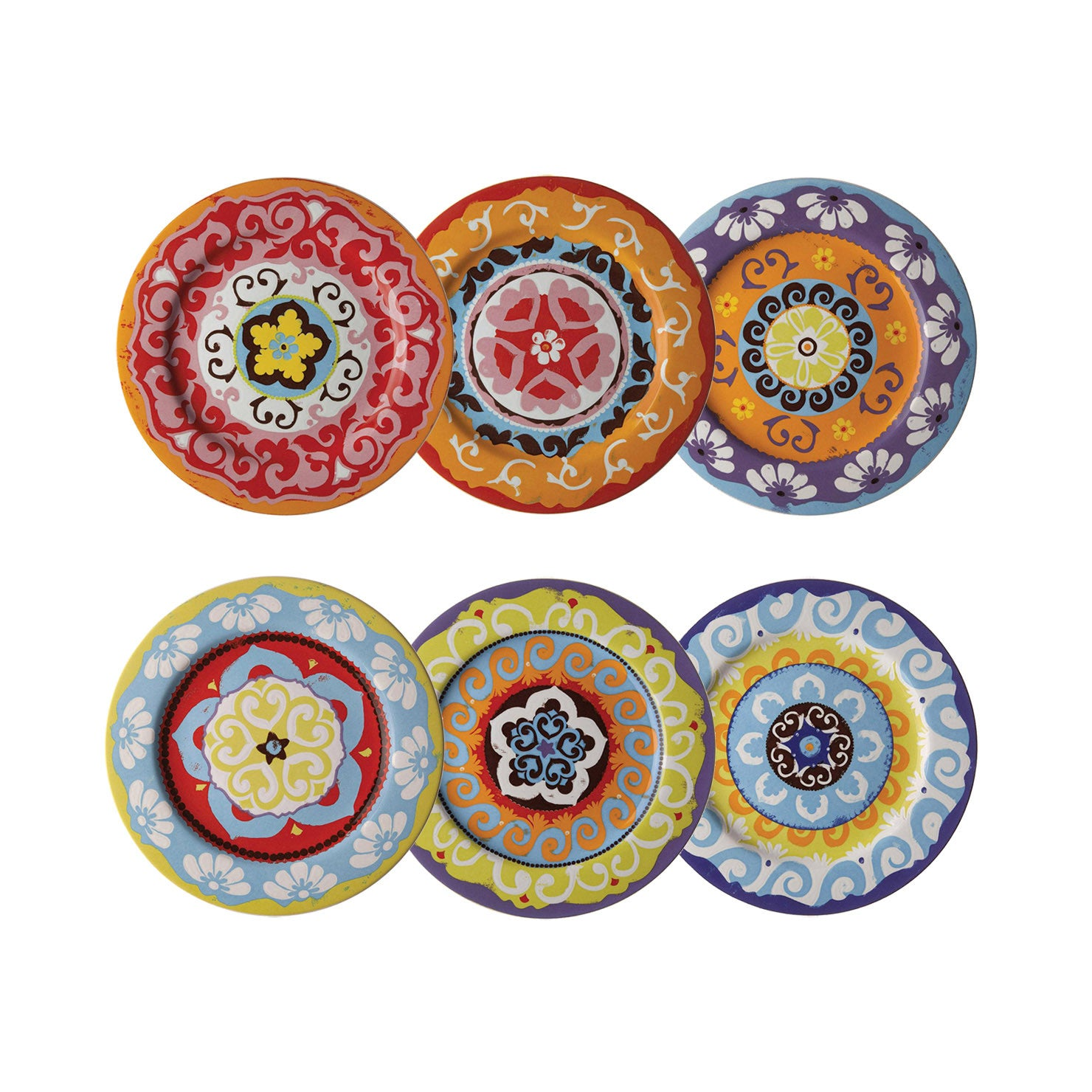 nador set of  dinner plates mixed colours mediterranean style  - nador set of  dinner plates mixed colours mediterranean style