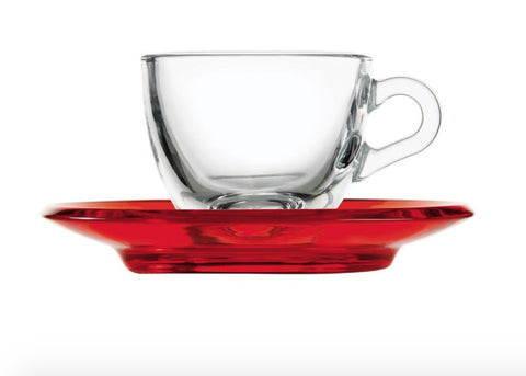 Guzzini espresso cup with saucer Red