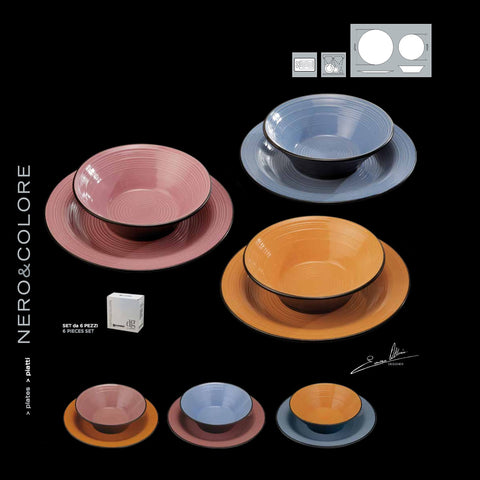 NERO&COLORE Orange, Pink and Blue plates - 6 Pcs Set (3 dinner, 3 soup)