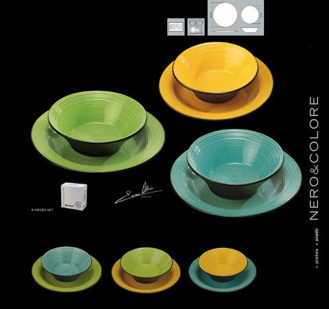 NERO&COLORE Green, yellow and turquois plates - 6 Pcs Set (3 dinner, 3 soup)