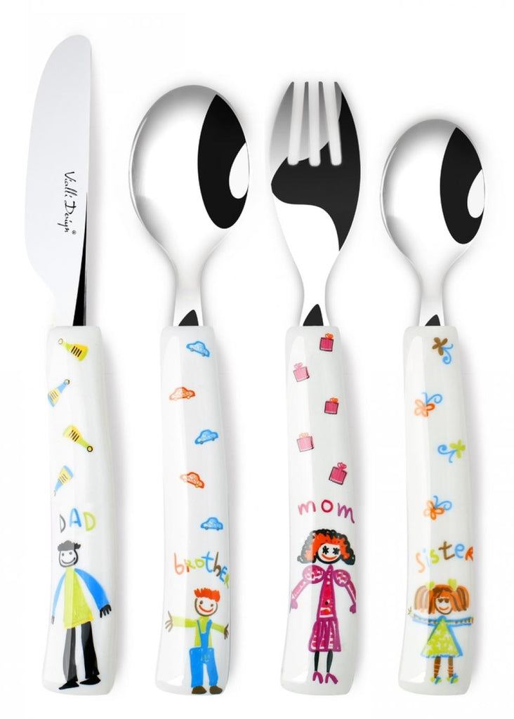 Vialli Design TITTO 4 Piece Children's Cutlery Set