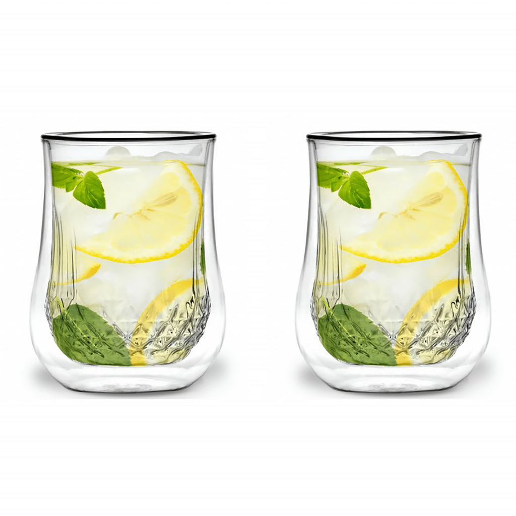 Vialli Design Diamente Double Walled Cocktail Drink Glasses Set of 2, 300ml