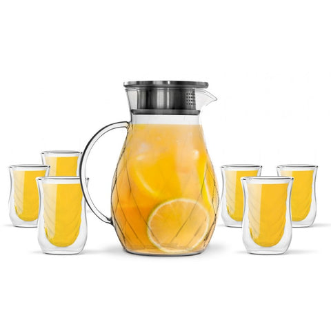 Vialli Design Cristallo 6 Double Walled Glasses 300ml and Pitcher 1200ml