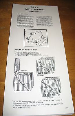 P048   3SB GI Joe Reproduction White Tiger Hunt Instruction Sheet!