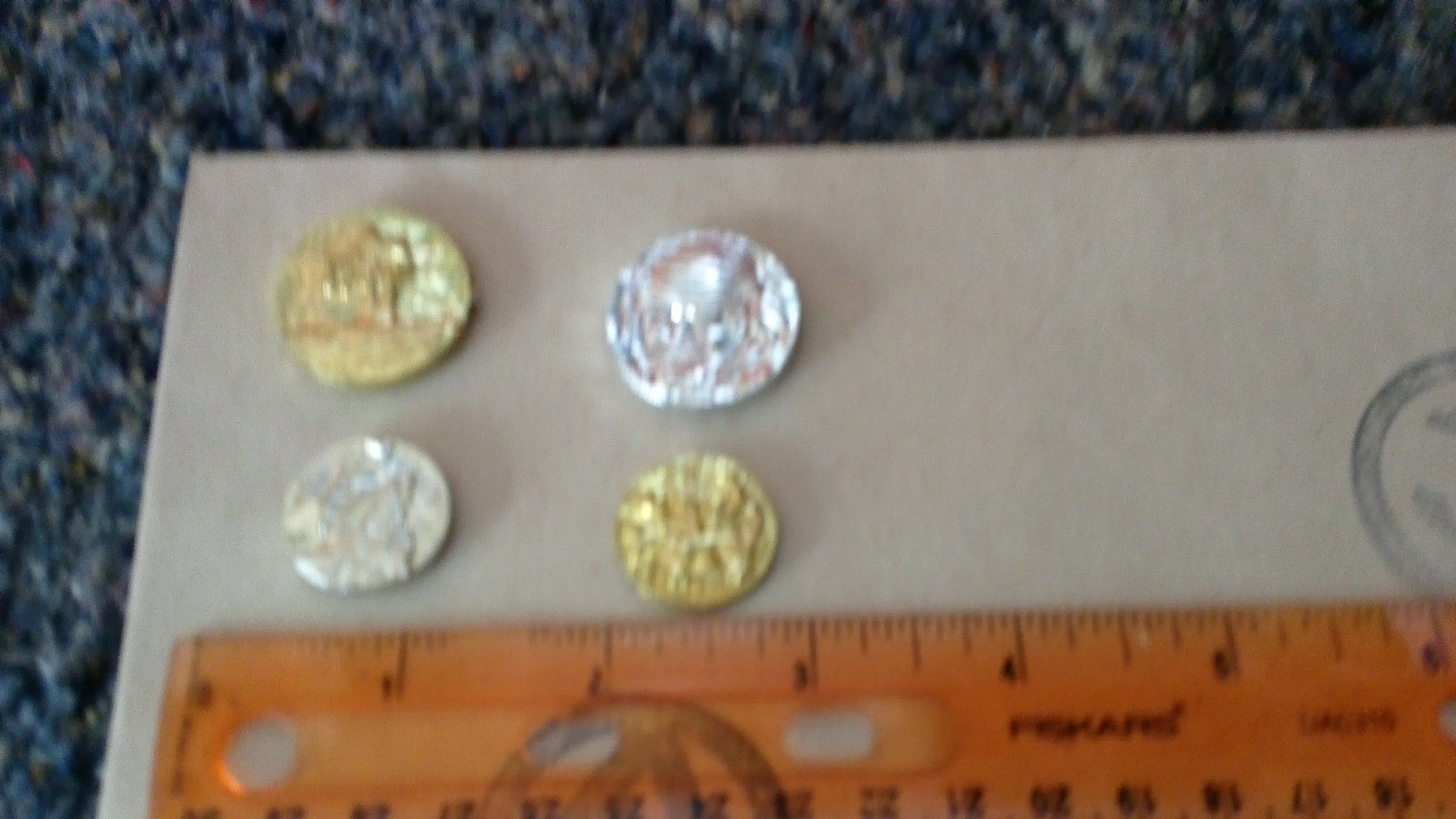 A394 Hasbro Action Man 40th Anniversary Treasure Chest Coins 4 different coins New!