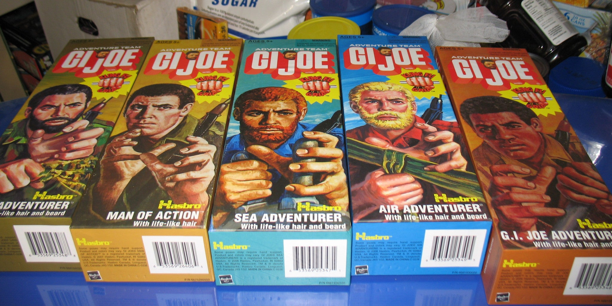 D100 5 full sets brand new unused sealed Hasbro GI JOE Walmart Adventure Team Figures!
