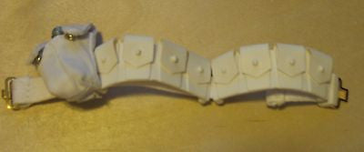 B001 GI JOE Hasbro Reissued White Cartridge Belt with canteen & holder new.