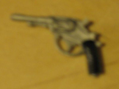 W022 GI Joe Hasbro Reissued Silver Gray Lebel Pistol New.