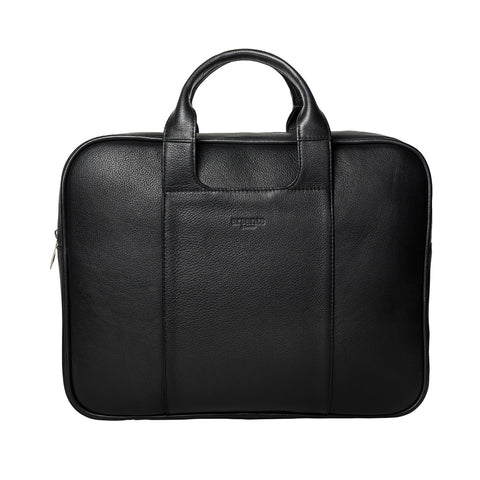 Arsante® Classic Leather Briefcase Rich Black