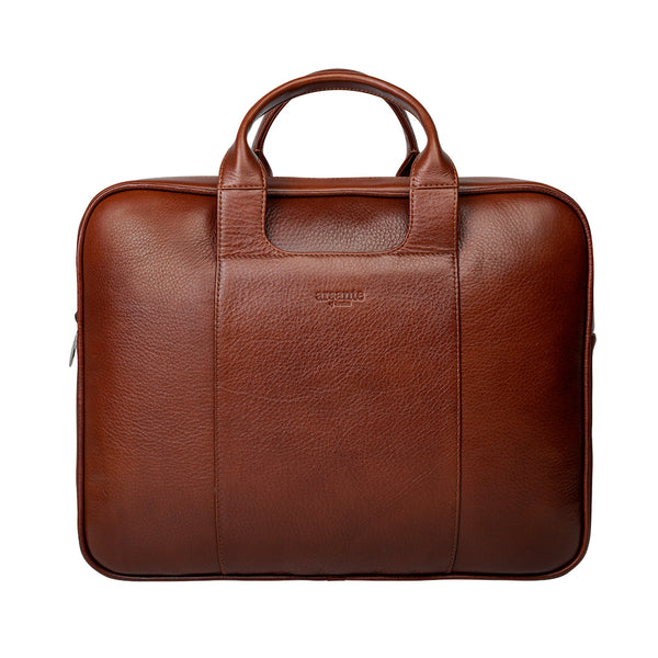 Arsante® Classic Leather Briefcase Whisky Brown