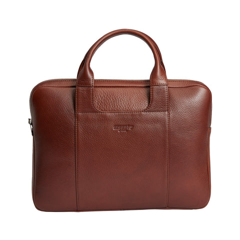 Arsante® Classica Leather Briefcase Whisky Brown