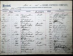 Adams Express Company Ledger 20