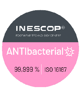 "The INESCOP ""ANTIbacterial"" seal of approval means that various Dian models (EVA, EVA PLUS & 02-S) come with an antibacterial treatment that eliminates up to 99.999% of all bacteria. This fully integrated treatment makes for more durable footwear, meaning this footwear is as safe as you can find. All this is achieved in accordance with UNE EN ISO 16187:2014 on ""Footwear and footwear components – Test method to assess antibacterial activity"""
