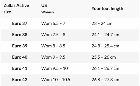 Zullaz shoes size chart