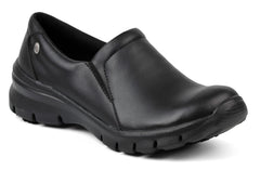 slip on black shoes with non slip sole for doctors, nurses, dentists, veterinary, waiters, waitresses