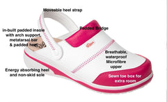 Costa Microfibre Clogs- White/Fuschia-Dian-InterAktivWear