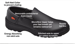 Marsella slip on black unisex shoe, extreme comfort, waterproof mircrofibre upper and non-skid sole.