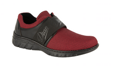 Siena tex enclosed slip on Red shoes with elastic forefoot strap, sneaker style sole, waterproof upper, antibacterial treated, vegan, nursing, doctor, dentist, veterinary, waiter, waitress, work shoes, cleaner,