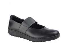 Sofia split leather slip on with elastic strap