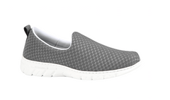Valencia Plus enclosed slip on Grey shoes with waterproof mesh forefoot strap, sneaker style sole, waterproof upper, antibacterial treated, vegan, nursing, doctor, dentist, veterinary, waiter, waitress, work shoes, cleaner,