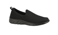 Valencia Plus enclosed slip on black shoes with waterproof mesh forefoot strap, sneaker style sole, waterproof upper, antibacterial treated, vegan, nursing, doctor, dentist, veterinary, waiter, waitress, work shoes, cleaner,