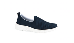 Valencia Plus enclosed slip on Navy Blue shoes with waterproof mesh forefoot strap, sneaker style sole, waterproof upper, antibacterial treated, vegan, nursing, doctor, dentist, veterinary, waiter, waitress, work shoes, cleaner,