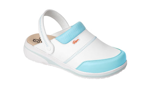 Costa Microfibre Clogs- White/Blue