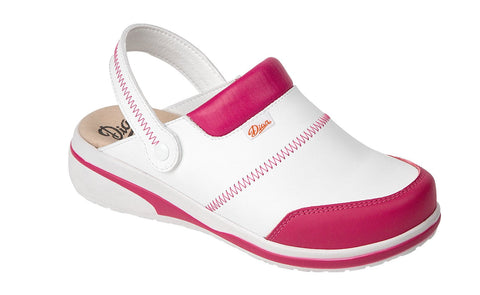 Costa Microfibre Clogs- White/Fuschia