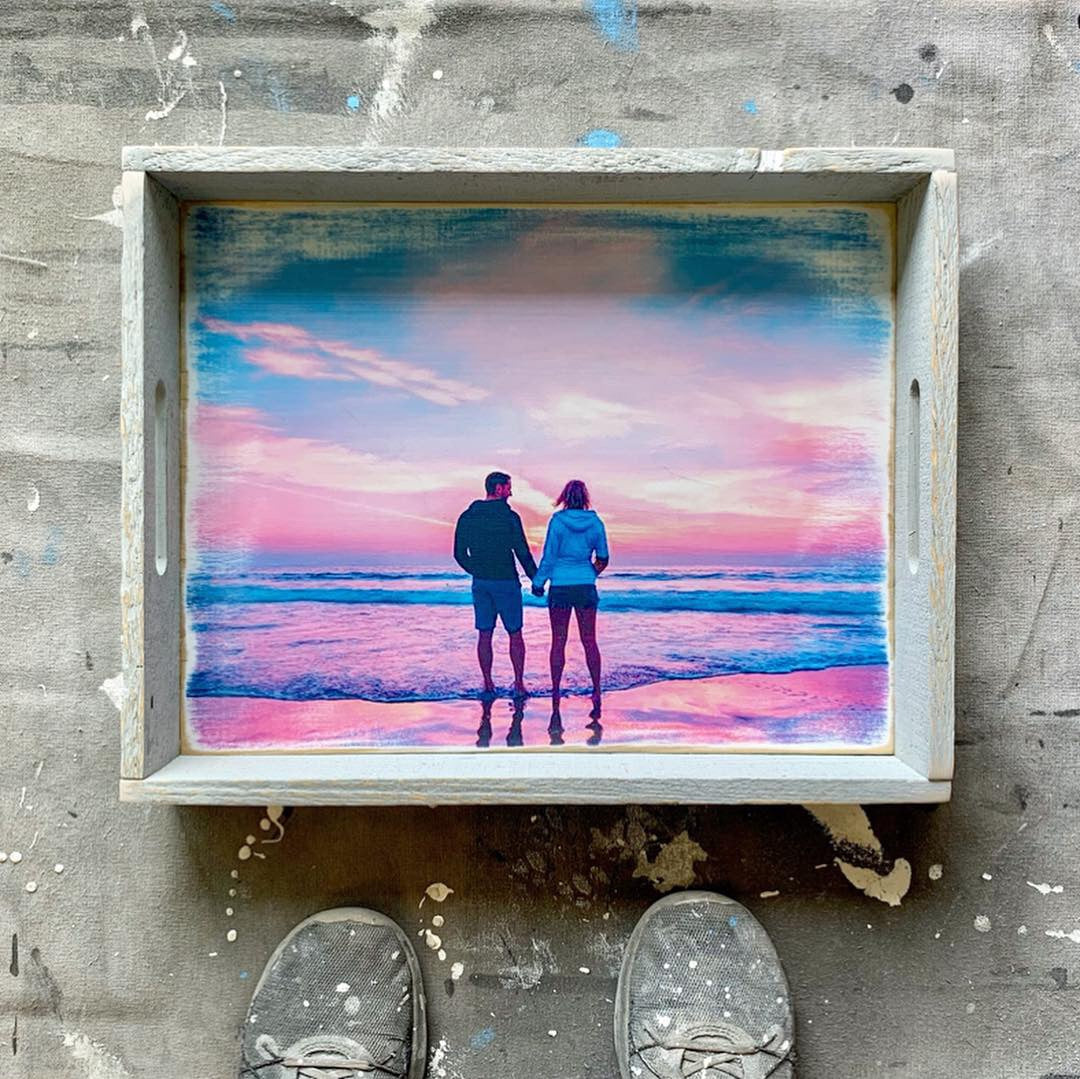 Custom Picture Reclaimed Wooden Serving Tray