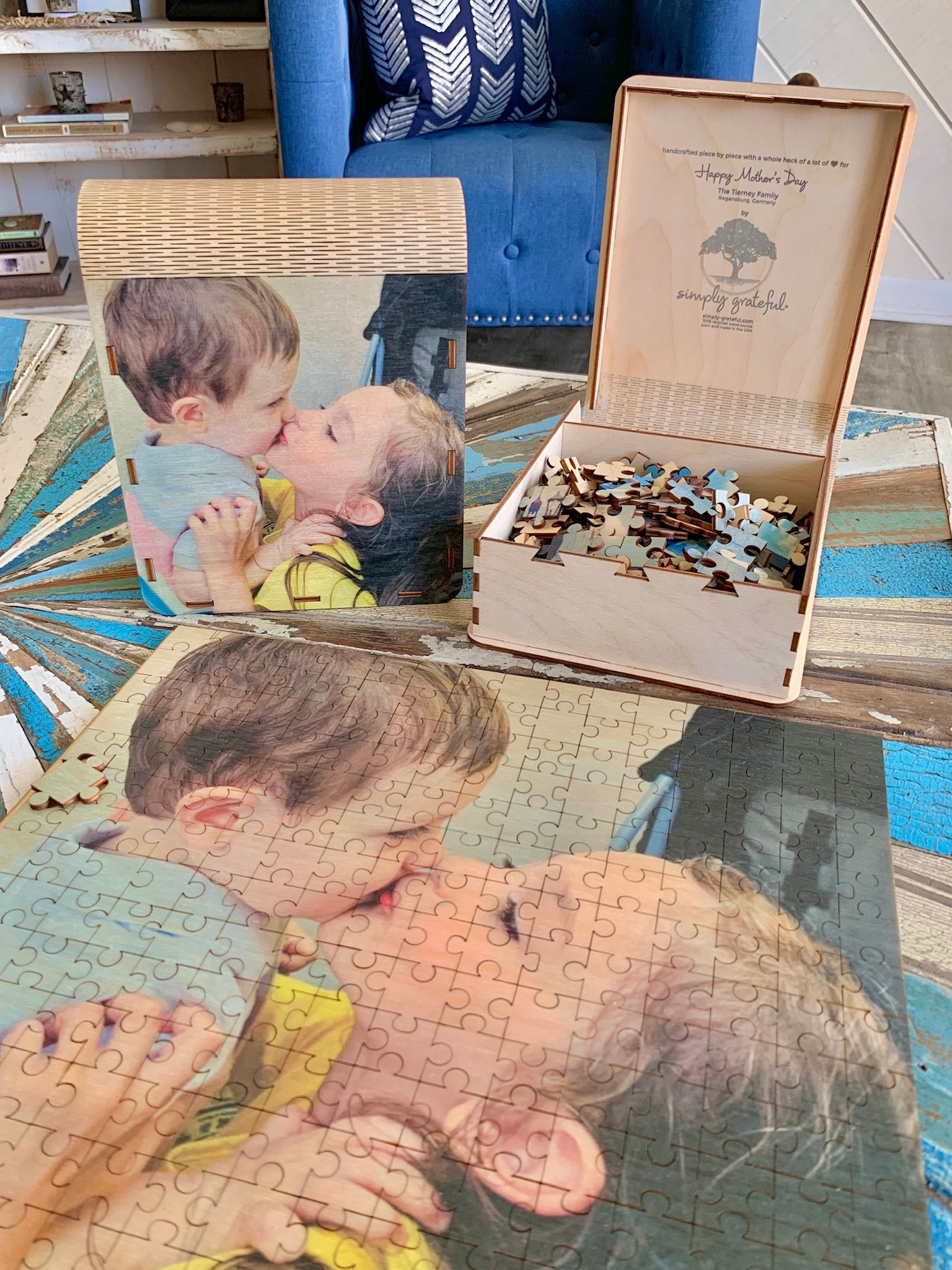250 Piece Custom Wooden Puzzle with Keepsake Box Family Simply Grateful