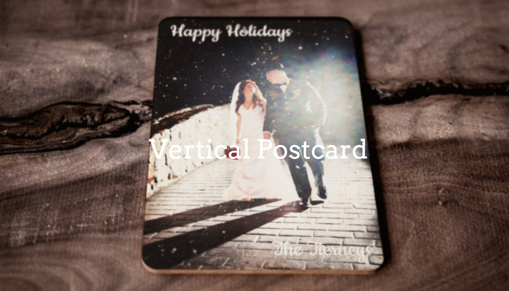 Custom Vertical Wooden Postcard