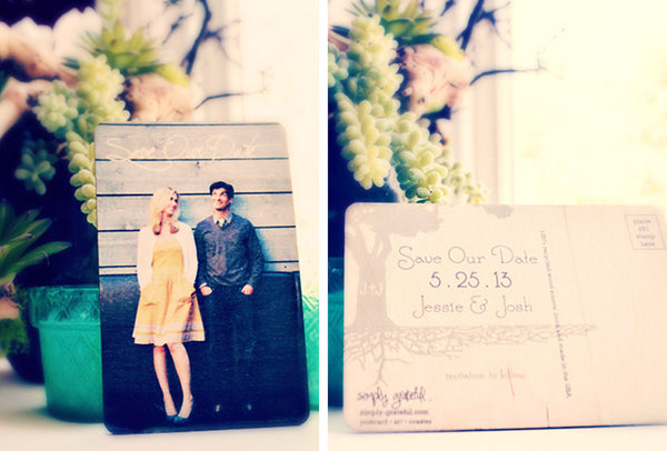Simply Grateful Save the Dates, Custom, Personalize