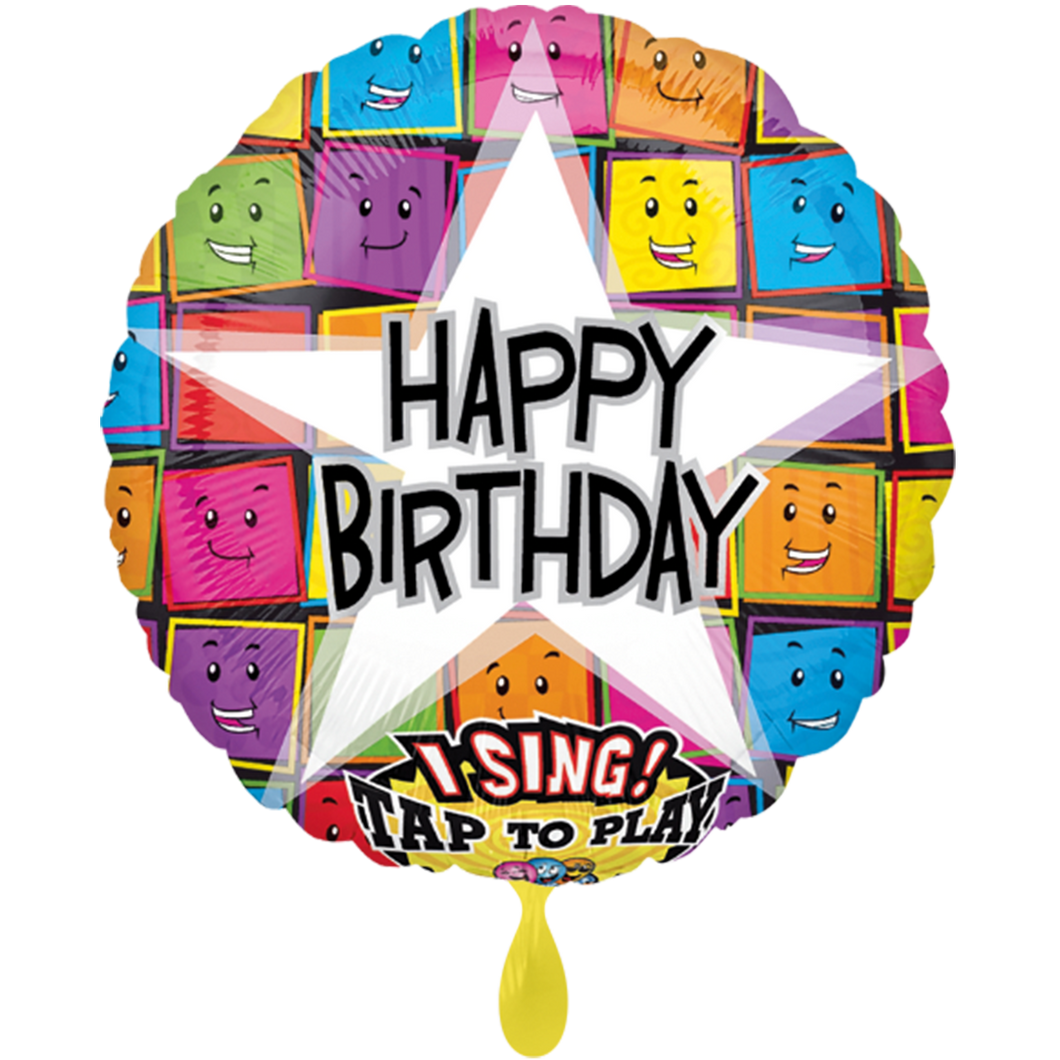 Vorschau: 1 Musikballon - Happy Birthday Faces