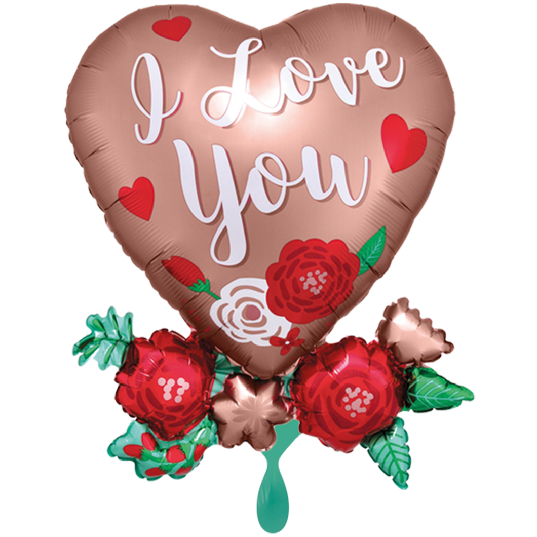 Vorschau: 1 Ballon XXL - Satin Heart with Flowers