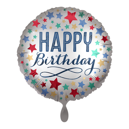 Vorschau: 1 Ballon - Birthday Satin with Stars