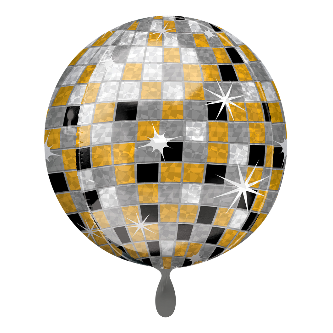 Vorschau: 1 Ballon - Orbz - Disco Ball, Gold, Silver, Black