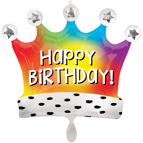 Vorschau: 1 Ballon XXL - Birthday Satin Rainbow Crown