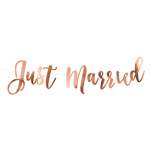 Vorschau: 1 Bannergirlande - Just Married - Rosegold