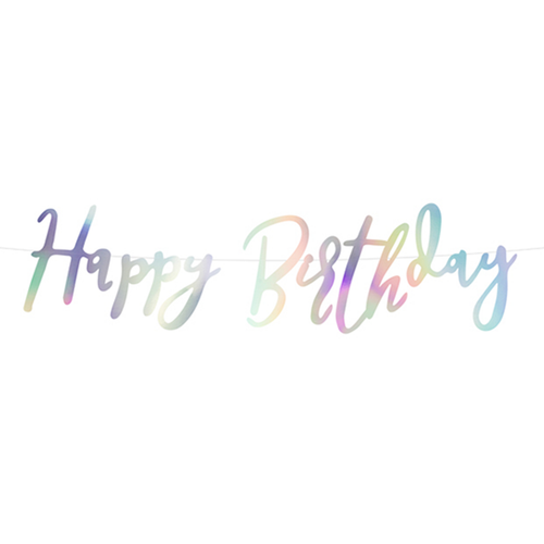 Vorschau: 1 Bannergirlande - Happy Birthday - Iridescent