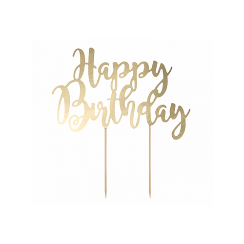 Vorschau: 1 Cake Topper - Happy Birthday - Gold