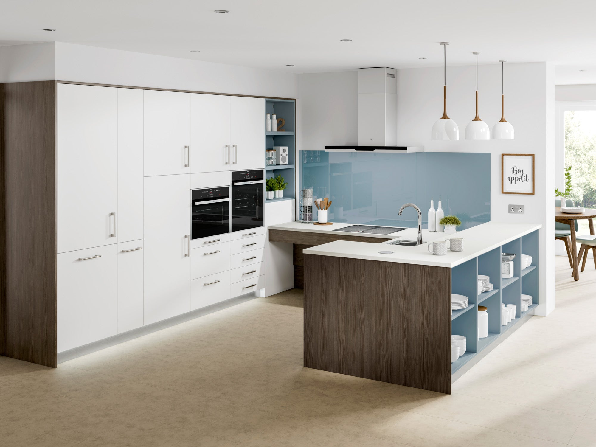 Blue and white accessible kitchen with easy to reach storage and appliances