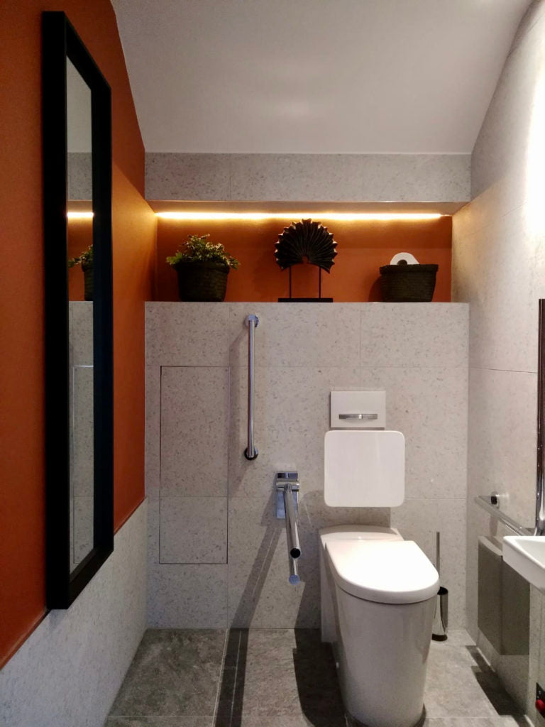 After: a chic wheelchair accessible toilet