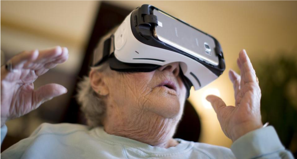 Norma Gorman uses virtual reality goggles at the the MIT Age Lab inCambridge, Massachusetts