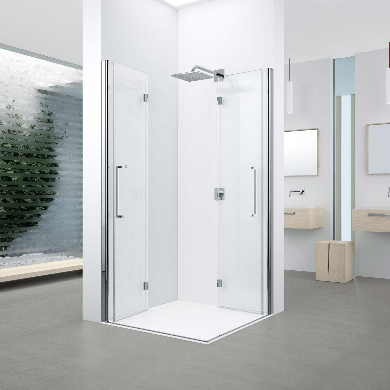 990-1010mm Bliss Bi-folding Screen Frosted Glass with a chrome finish lifestyle image