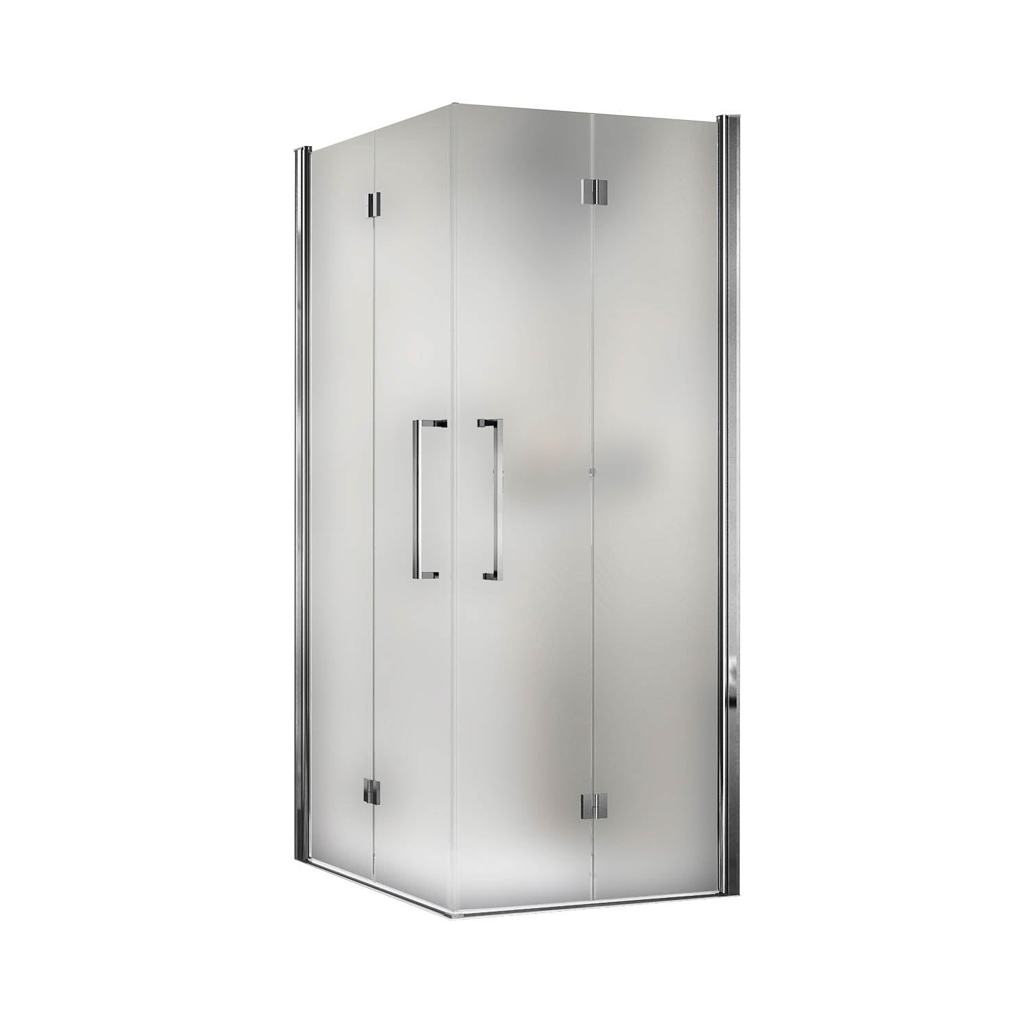 890-910mm Bliss Bi-folding Screen Frosted Glass with a chrome finish on a white background