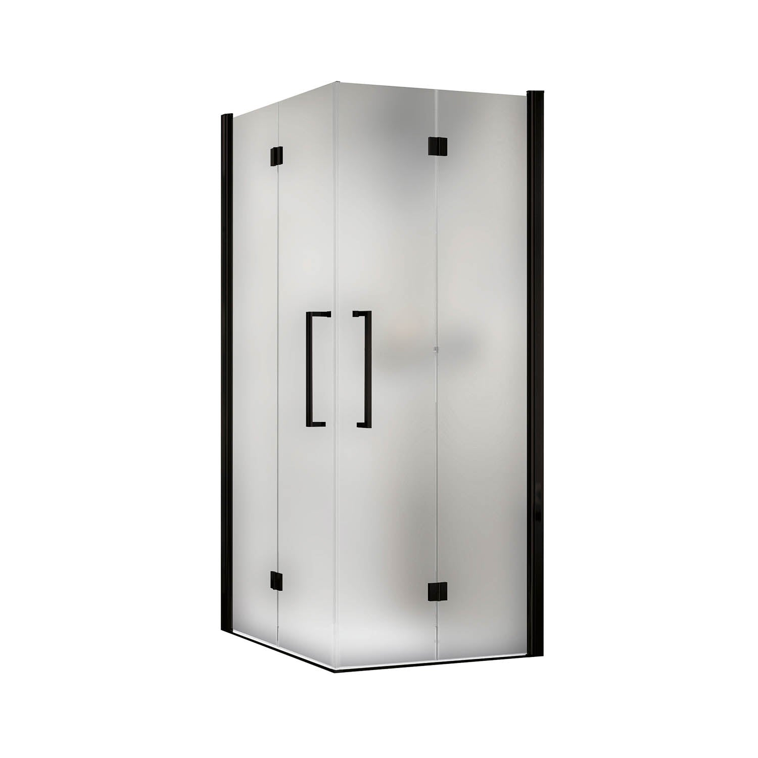 1050-1070mm Bliss Bi-folding Screen Frosted Glass with a matt black finish on a white background