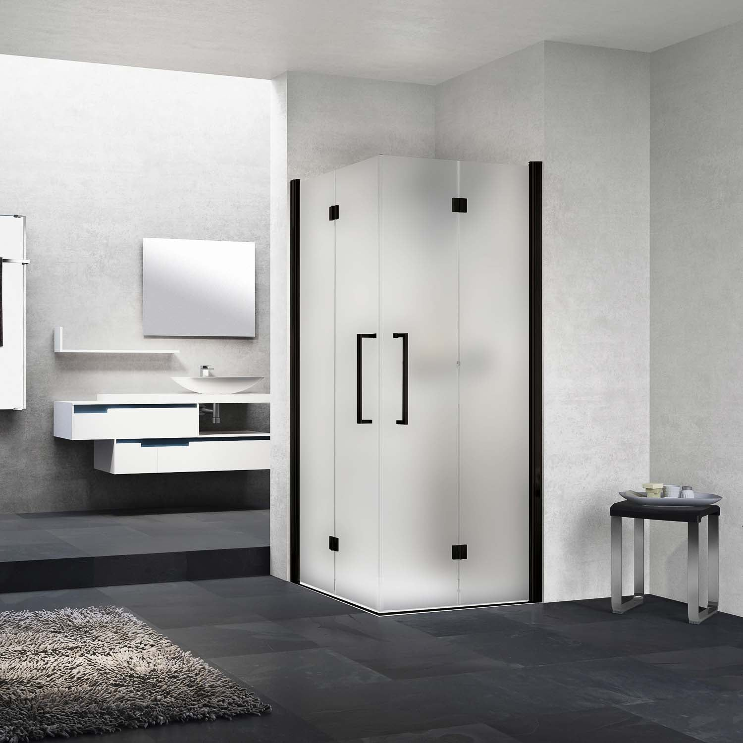 690-710mm Bliss Bi-folding Screen Frosted Glass with a matt black finish lifestyle image