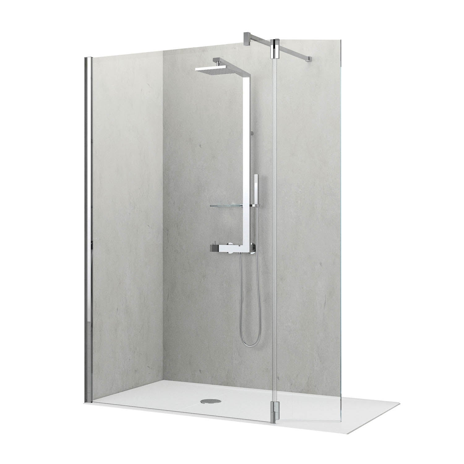 870-900mm Ergo Wet Room Screen Clear Glass with a chrome finish on a white background